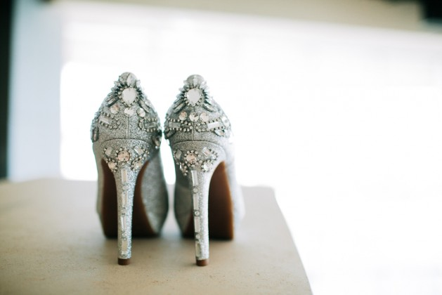Silver Wedding High Heels on Table Illuminated