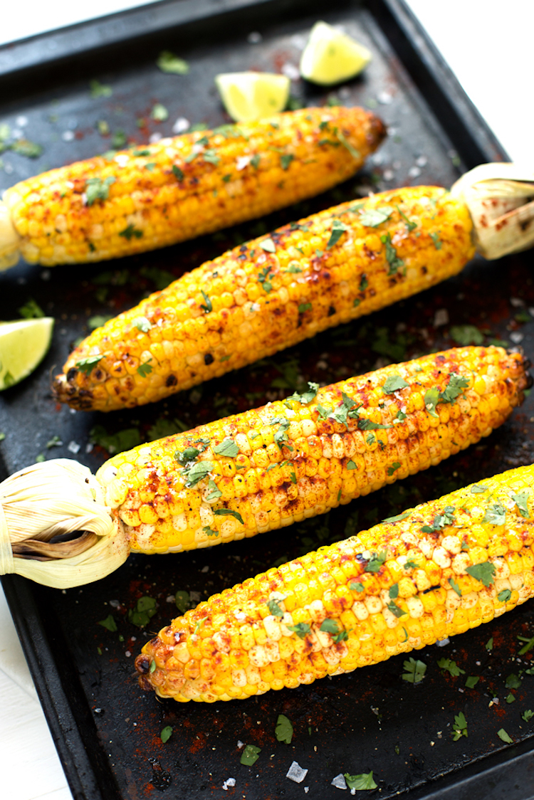 Grilled Cilantro, Lime + Paprika Corn on the Cob from Blissful Basil