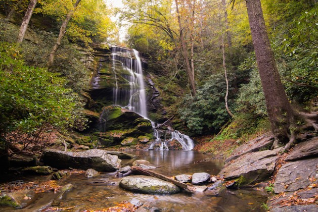 Western North Carolina Waterfall by the name of Catabwa Falls near Asheville, North Carolina