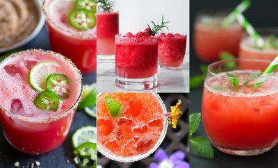 Boozy watermelon drinks