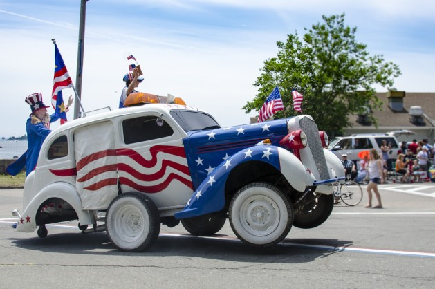 Doing wheelies in the Fourth of July parade in Bristol, Rhode Island, an annual tradition since 1785