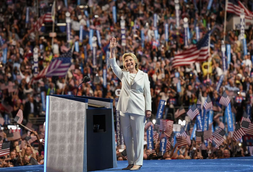 Hillary Clinton Waves to the crowd at the Democratic National Convention