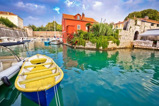 Historic Fosa bay in Zadar boats and architecture view, Dalmatia, Croatia