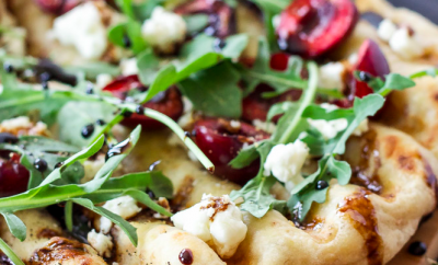 GRILLED CHERRY, GOAT CHEESE, AND ARUGULA PIZZA