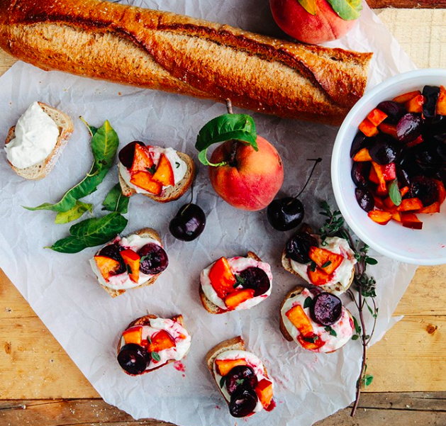 Cherry Peach Bruschetta with Honey Garlic Goat Cheese