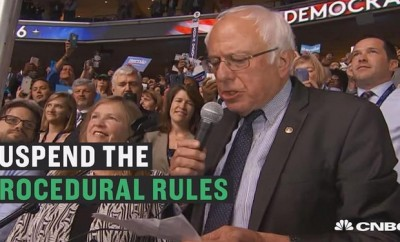 Senator Bernie Sanders moves to suspend rules and nominate Hillary Clinton by acclimation