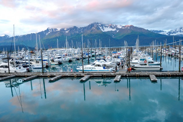 Seward pier in Alaska during midnight sunset(in summer)