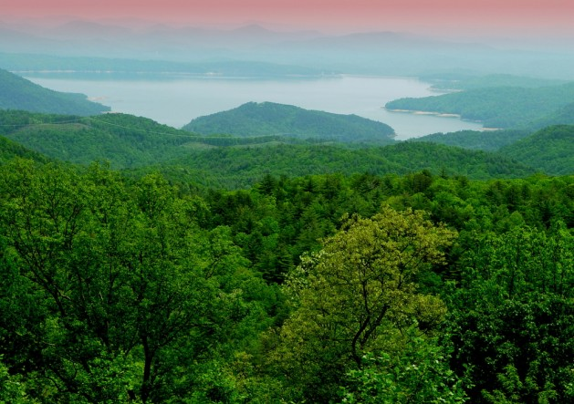 Mountain Sunrise. (Lake Jocassee, South Carolina). View from above.