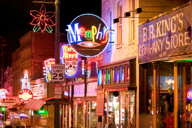 Neon signs of famous blues clubs on historical Beale street