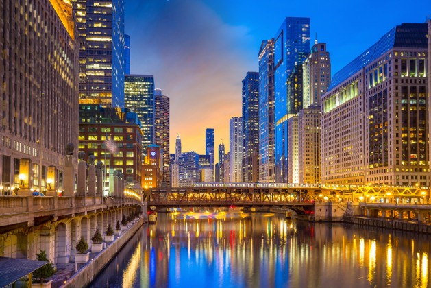 Chicago downtown and Chicago River at night in USA