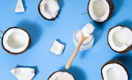 image of coconuts with coconut on blue background