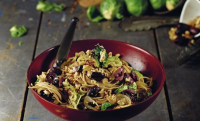 olive angel hair pasta with brussels sprouts