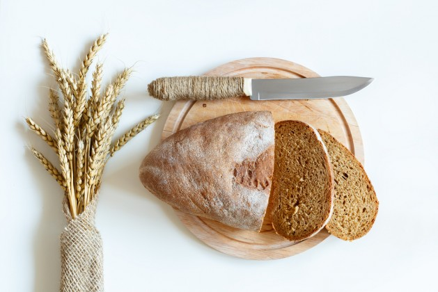 top view of the bread and wheat