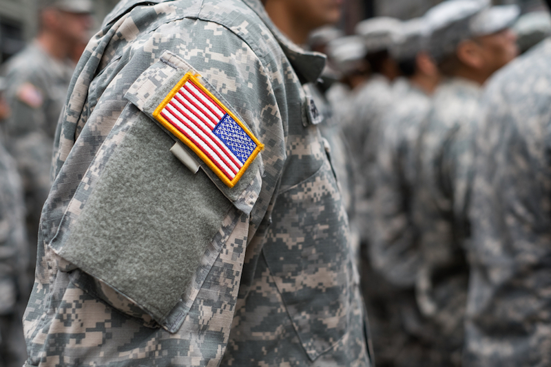 USA patch flag on soldiers arm