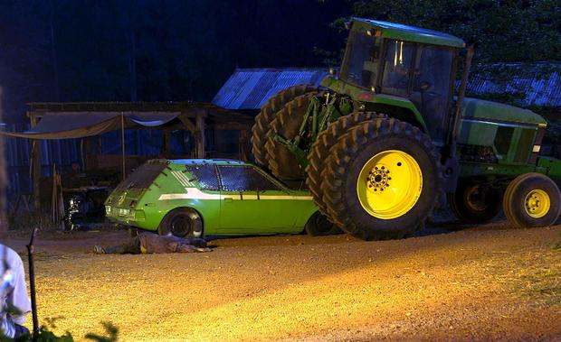 maggie smashes car with a tractor