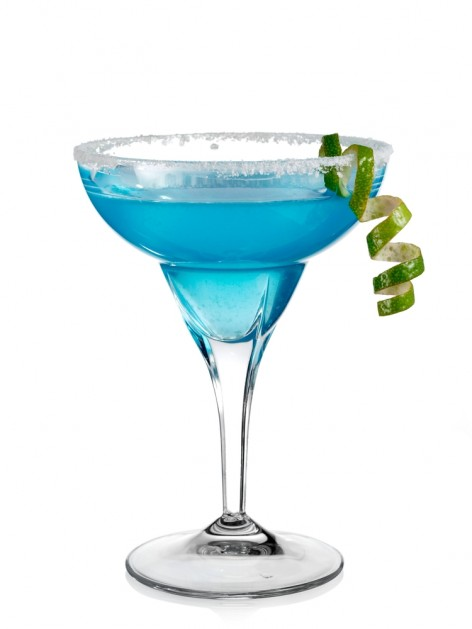 Blue cocktail in margarita glass