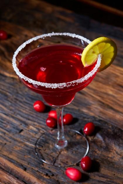 Cosmopolitan cocktail top on bar