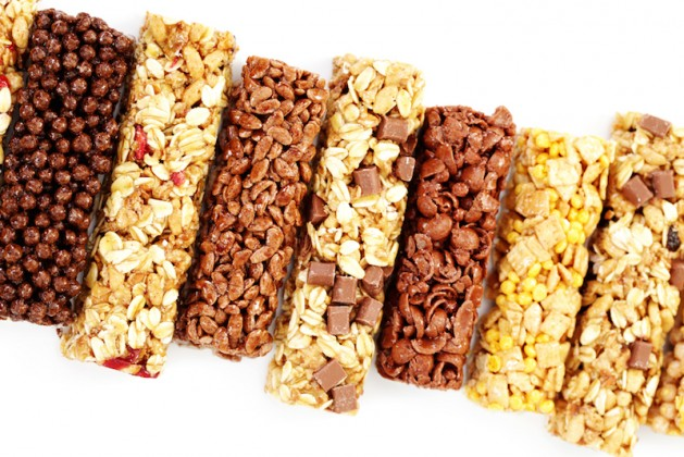 granola bars on white background diet and breakfast