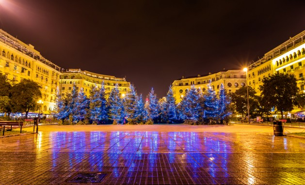 Christmas trees on Aristotelous Square in Thessaloniki - Greece