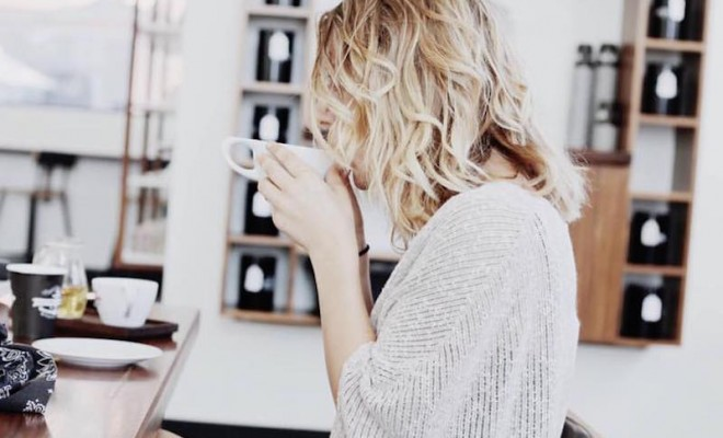 Barista parlor instagram image woman sipping coffee
