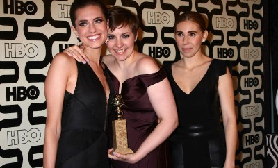 Lena Dunham and cast of Girls, cover of Glamous unretouced and unphotoshopped