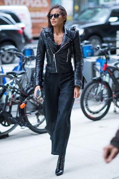 leather jacket model street style