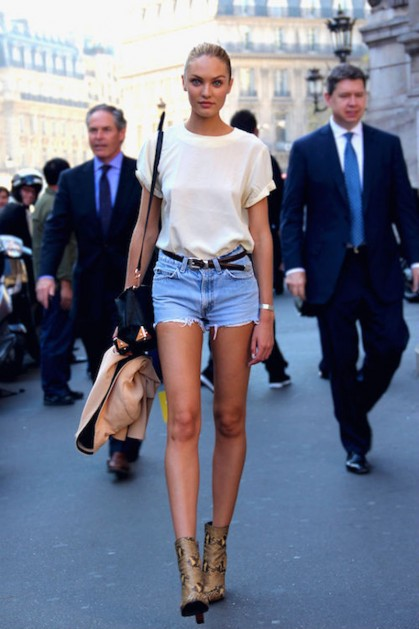 model street style jorts, denim, jean shorts