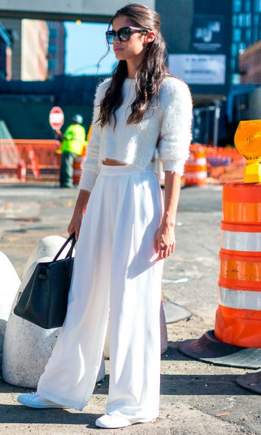 model street style bold all white outfit