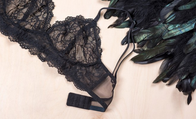 Shopping and fashion concept. Glamorous stylish sexy lace lingerie bra, woman accessories on wooden background. Top view point , beautiful and affordable lingerie to order for Valentine's Day