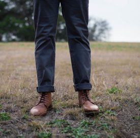 black pants brown shoes
