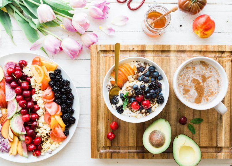 Healthy food on restaurant table