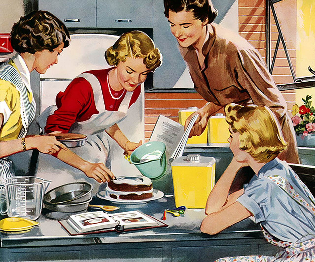 Mother in kitchen serving food to family