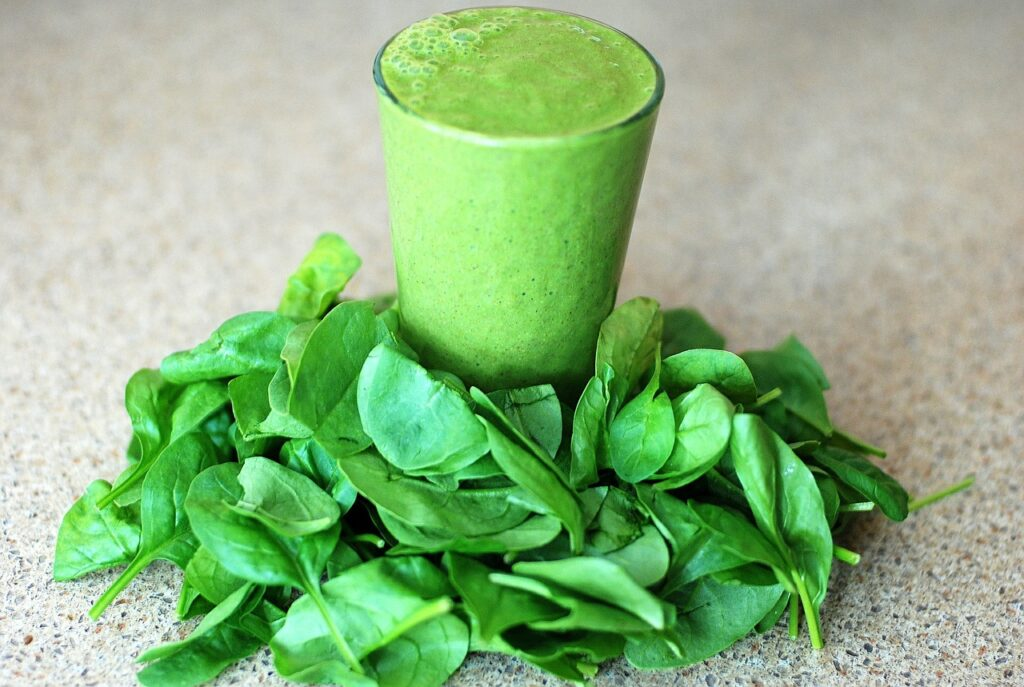 Green Protein Smoothie With Spinach Leaves