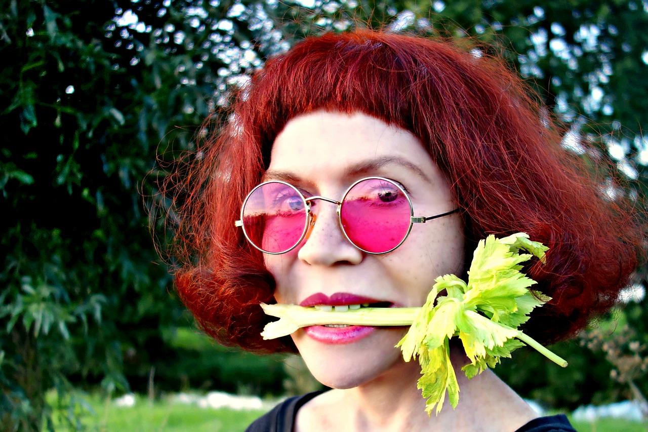 how long does celery last, celery stalk in mouth woman's mouth pink sunglasses