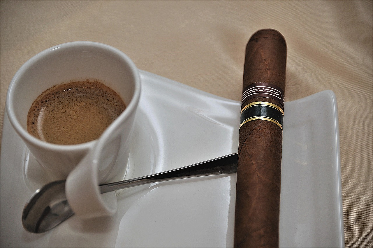 best cigars under $20 Cigar on white plate next to cuban coffee